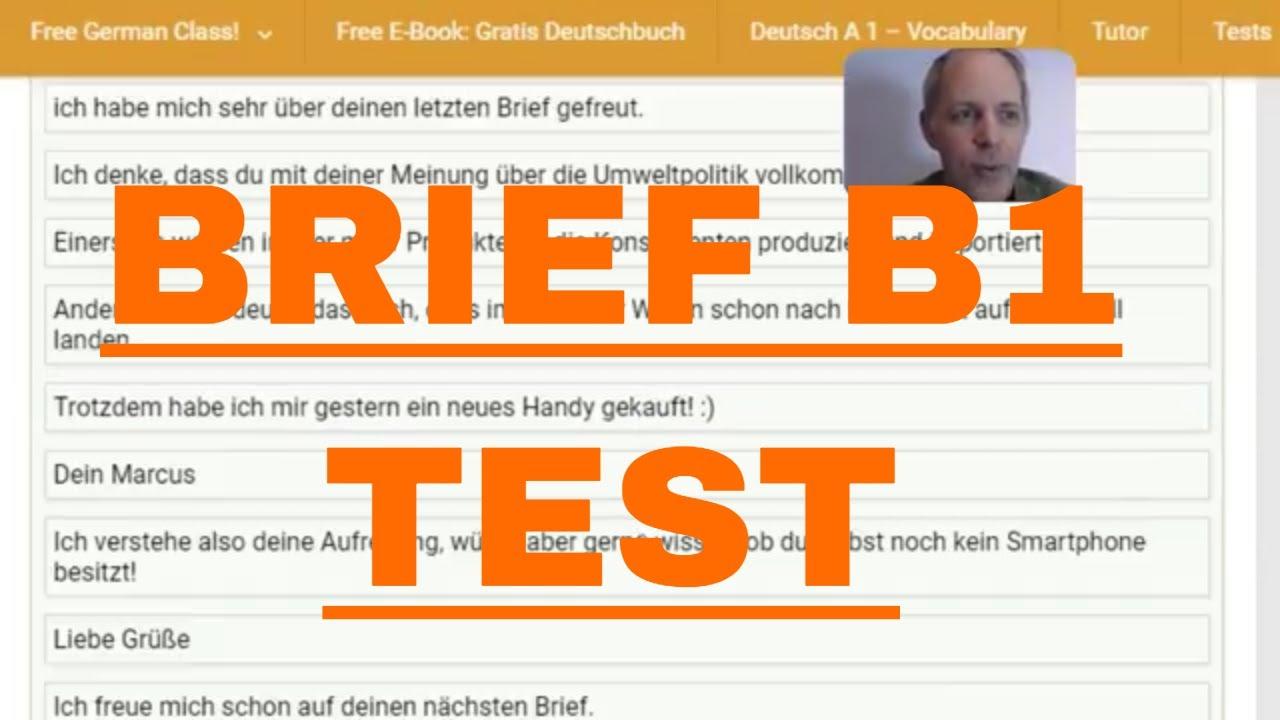 Brief Schreiben Deutsch B1 Testtraining German Letter Writing B1