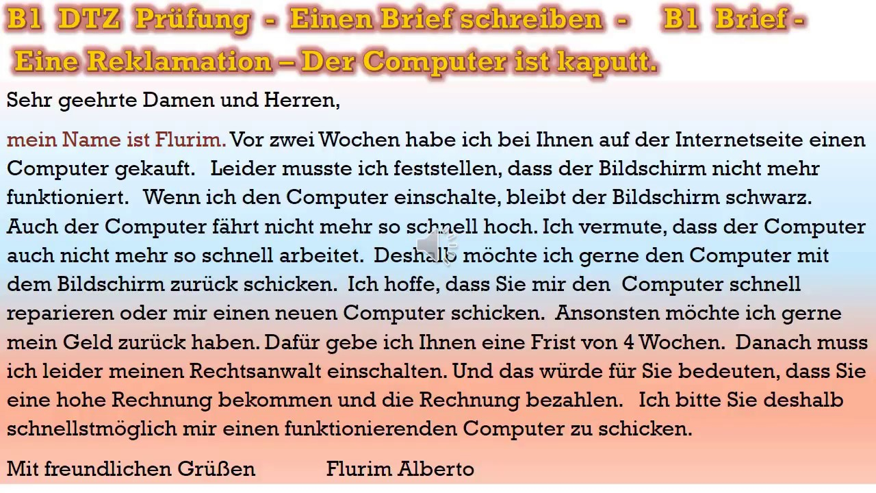 B1 Prüfung Deutsch Lernen Schriftliche Prüfung Einen Brief Schreiben